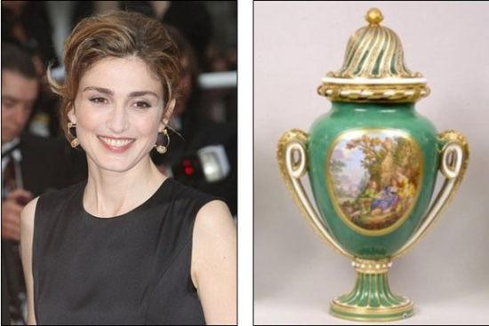 第一女友被曝在得知奥朗德与女演员茱莉·加耶(左)的绯闻后怒砸国宝(网页截图)