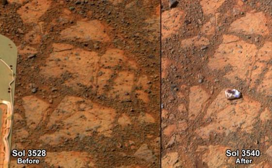 这两张图像对比显示,右侧图像中明显多了一块神秘的岩石。