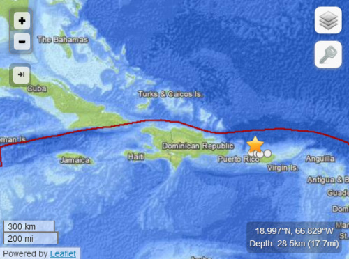 波多黎各近海发生6.5级地震距首都96公里(图)