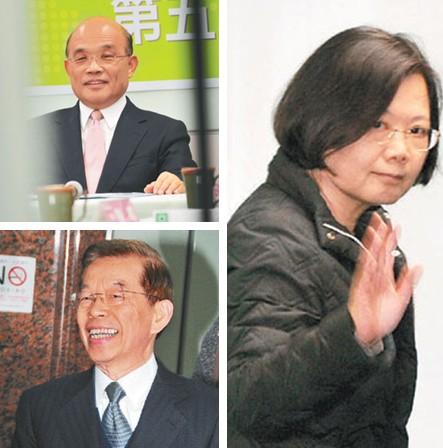 苏贞昌(左上)、谢长廷(左下)、蔡英文(右)/图自台湾《联合报》