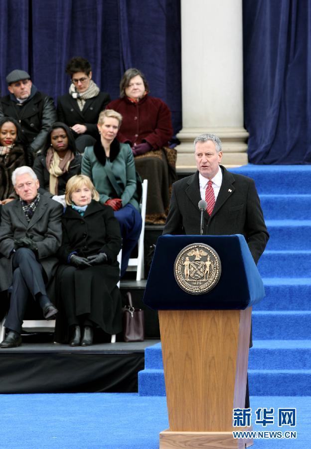 (国际)(3)纽约新市长宣誓就职