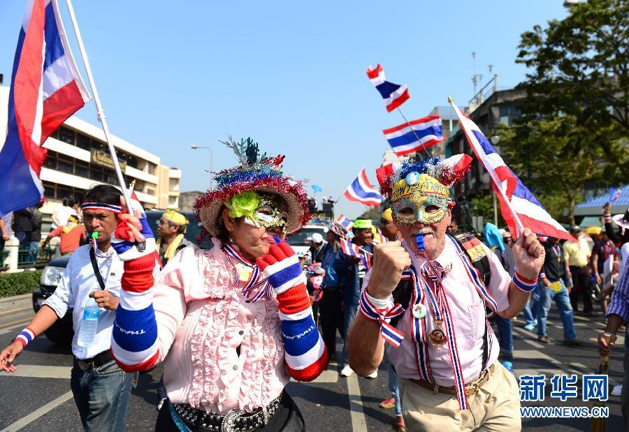 (国际)(2)泰国反政府示威者继续集会