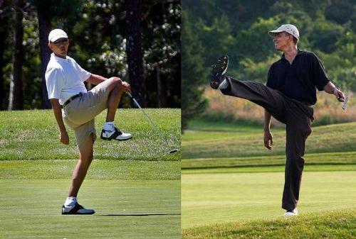 """奥巴马是高尔夫达人。当下美国民主党当政,每当总统打高尔夫时共和党就悄悄记上一笔,最后发现入主白宫以来奥巴马已经打过至少155轮高尔夫球,去年更因公开打奥尔夫次数太多被民众批评,导致奥巴马改玩保龄球,以迎合工薪阶层,并把""""今年少打点高尔夫""""写进自己的2014新年愿望。"""