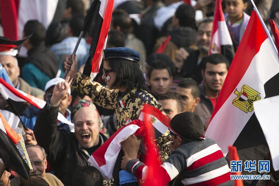 (国际)(4)开罗举行集会庆祝推翻穆巴拉克政权三周年