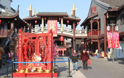 图为鼓楼沿历史文化街区。