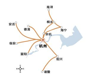 """2013年9月,中国国际工程咨询公司受国家发改委委托,在海宁举行《浙江省都市圈城际铁路近期建设规划》专家评审。  《规划》提到,杭州都市圈将建9条城际铁路,形成""""八射一联""""的城际铁路网。"""