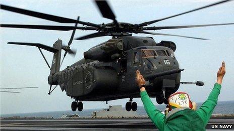 美国海军一架直升机坠毁 致2人死亡1人失踪