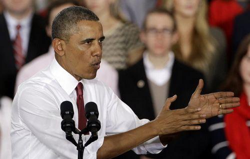 1月15日,美国总统奥巴马在北卡罗来纳州立大学对学生发表讲话