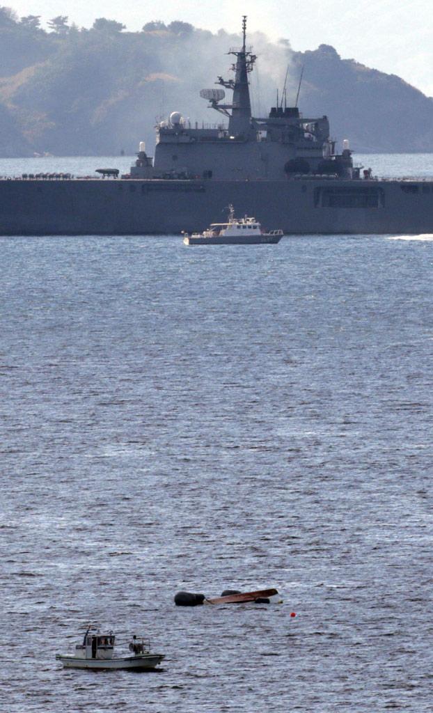 日海自运输舰与一艘渔船相撞 4人落水
