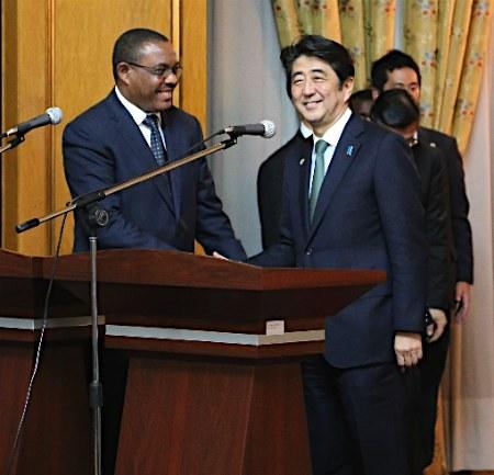 安倍与埃塞俄比亚总统会谈将提供贷款建发电站