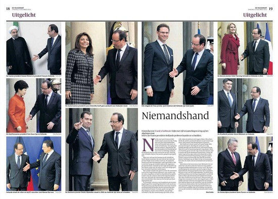 外媒盘点了奥朗德与政要握手却屡被无视的尴尬瞬间。