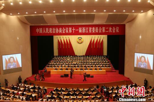 浙江省政协十一届二次会议开幕。 徐乐静 摄