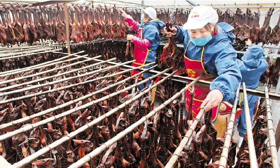 1月3日,松阳县的一些企业职工加班加点赶制酱鸭、香肠等年货,抢占春节市场。丽水日报记者 雷宁 通讯员 陈碧鑫 摄