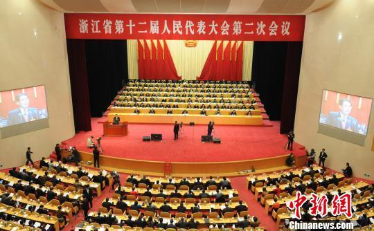 浙江省第十二届人大二次会议开幕。 张茵 摄