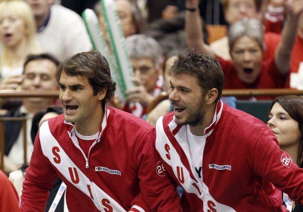 图文:瑞士重返戴杯八强 费德勒和瓦林卡